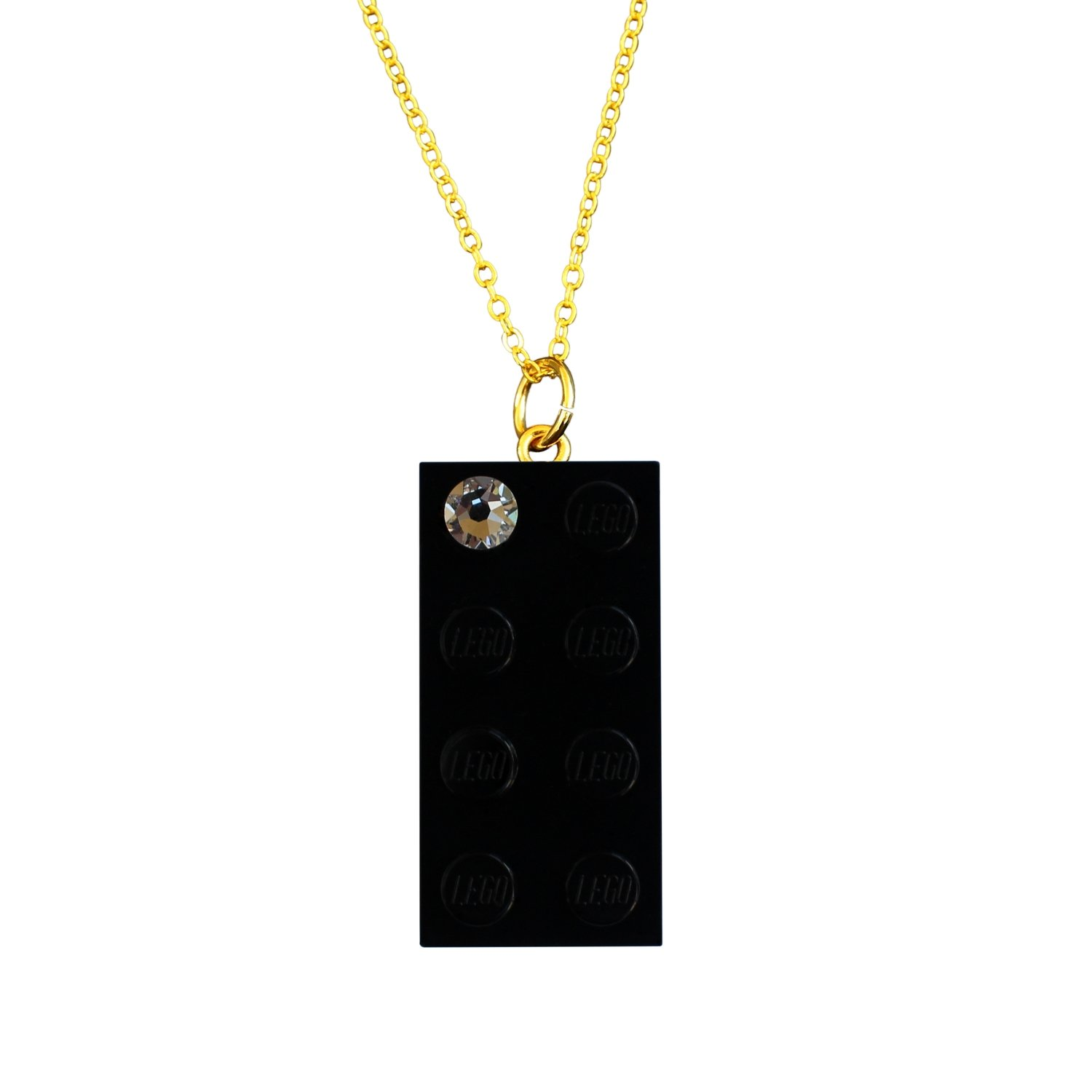 "​Black LEGO® brick 2x4 with a 'Diamond' color SWAROVSKI® crystal on a Gold plated trace chain (18"" or 24"")"