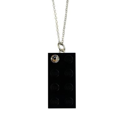 "Black LEGO® brick 2x4 with a 'Diamond' color SWAROVSKI® crystal on a Silver plated trace chain (18"" or 24"")"