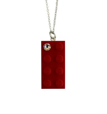 "Red LEGO® brick 2x4 with a 'Diamond' color SWAROVSKI® crystal on a Silver plated trace chain (18"" or 24"")"