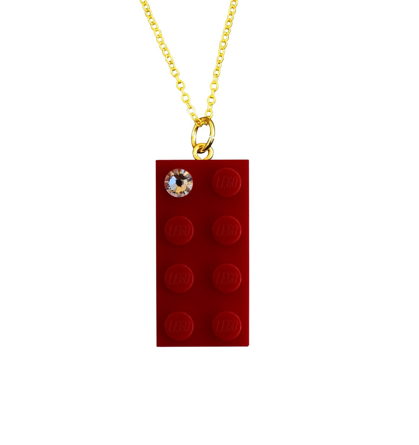 "Red LEGO® brick 2x4 with a 'Diamond' color SWAROVSKI® crystal on a Gold plated trace chain (18"" or 24"")​​"