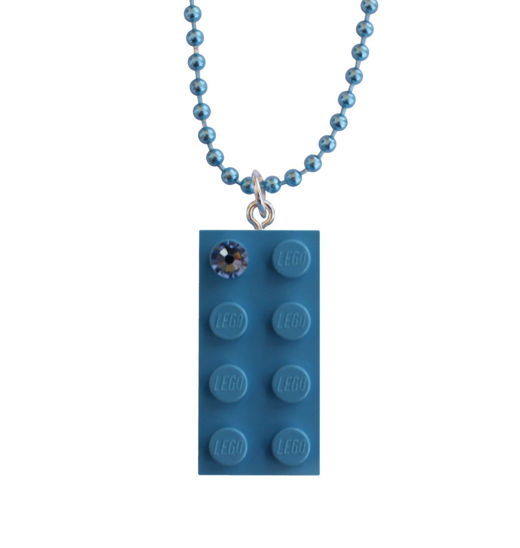 "Light Blue LEGO® brick 2x4 with a Blue SWAROVSKI® crystal on a 24"" Blue ballchain"