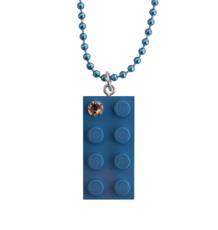 "Light Blue LEGO® brick 2x4 with a 'Diamond' color SWAROVSKI® crystal on a 24"" Blue ballchain"