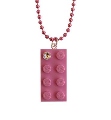 "Light Pink LEGO® brick 2x4 with a 'Diamond' color SWAROVSKI® crystal on a 24"" Pink ballchain"
