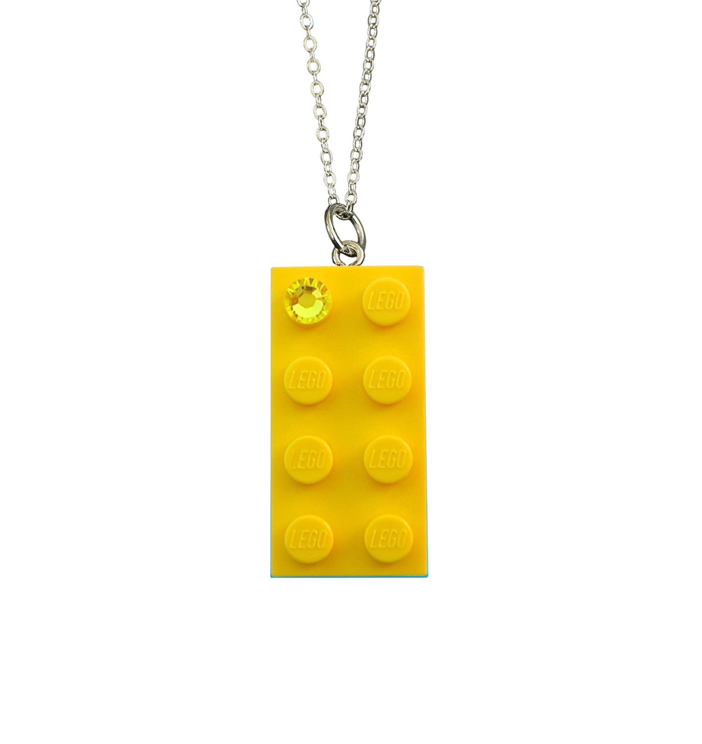 "Yellow LEGO® brick 2x4 with a Yellow SWAROVSKI®​ crystal​ on a Silver plated trace chain (18"" or 24"")"