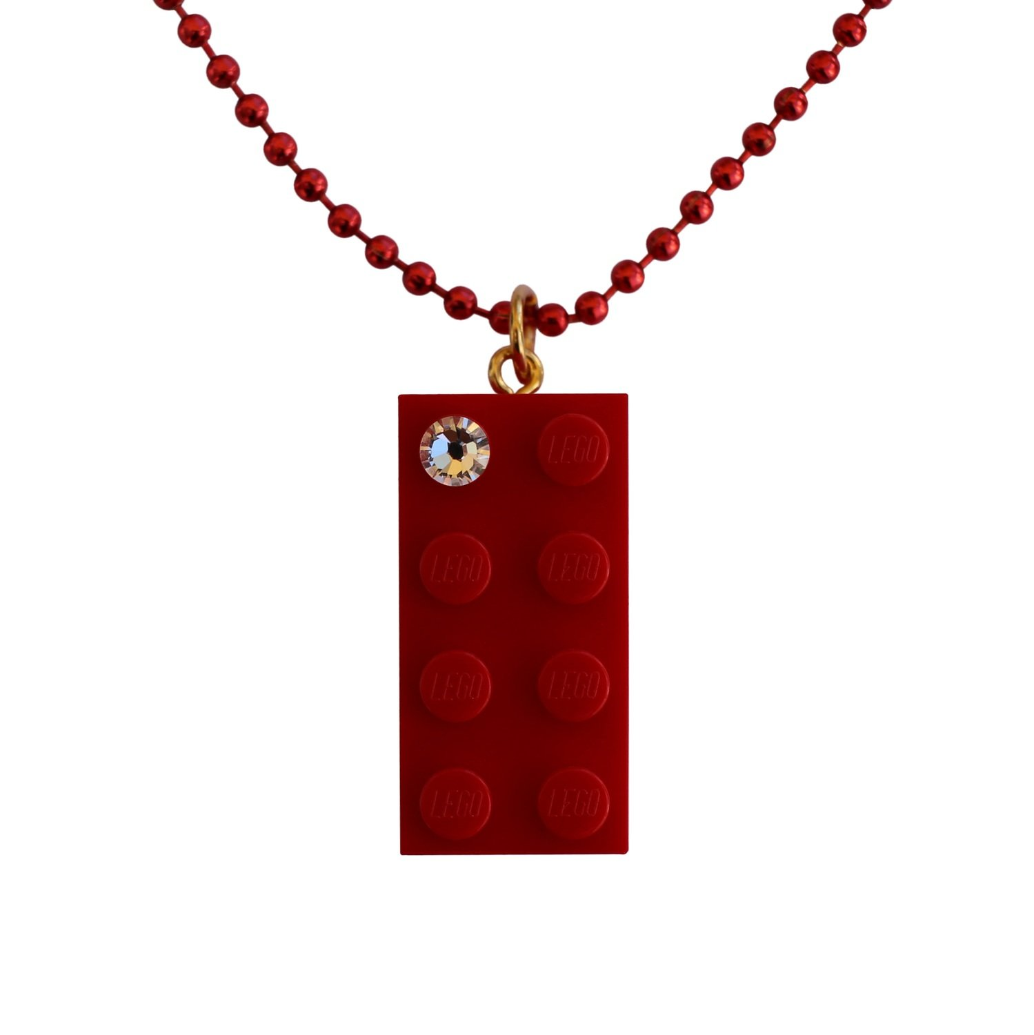 "Red LEGO® brick 2x4 with a 'Diamond' color SWAROVSKI® crystal on a 24"" Red ballchain​"