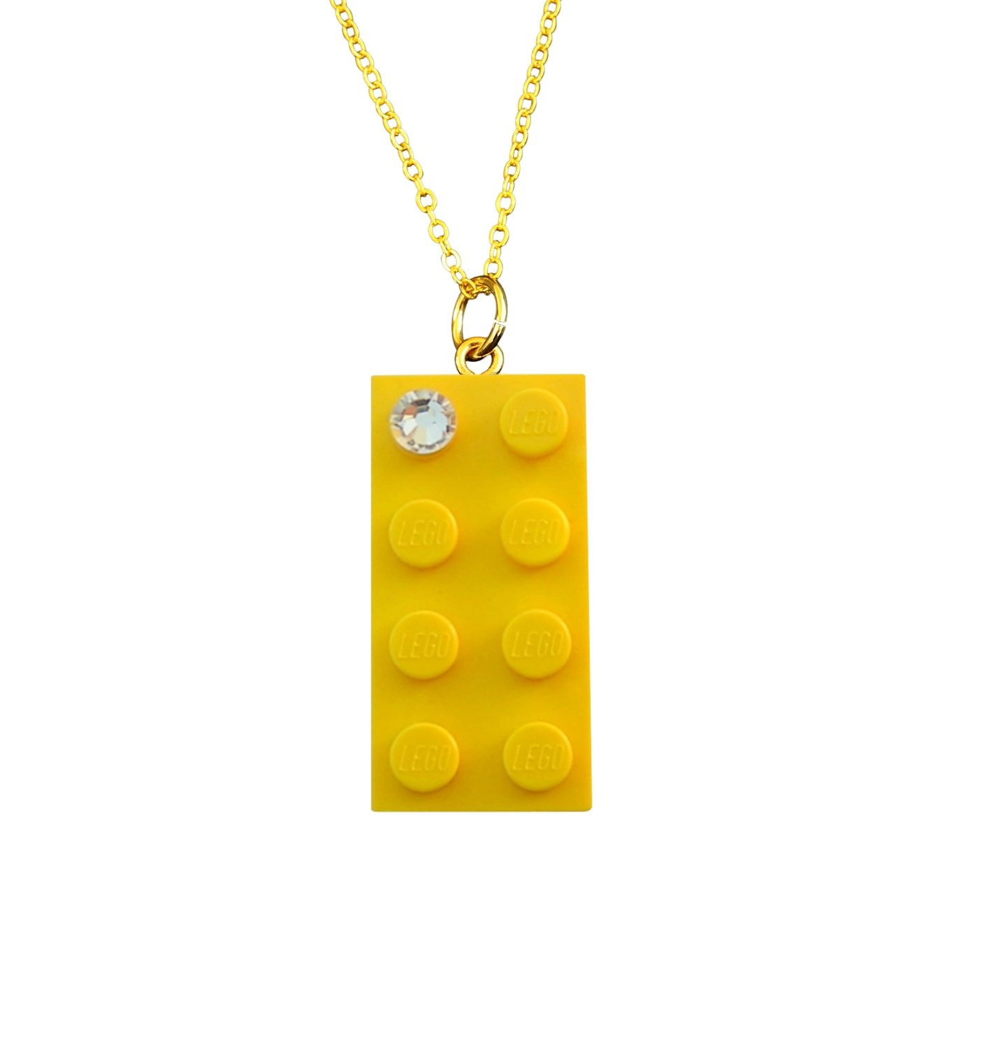 "Yellow LEGO® brick 2x4 with a 'Diamond' color​ SWAROVSKI® crystal on a Gold plated trace chain (18"" or 24"")"