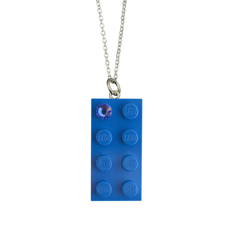 "Dark Blue LEGO® brick 2x4 with a Blue SWAROVSKI® crystal on a Silver plated trace chain (18"" or 24"")"