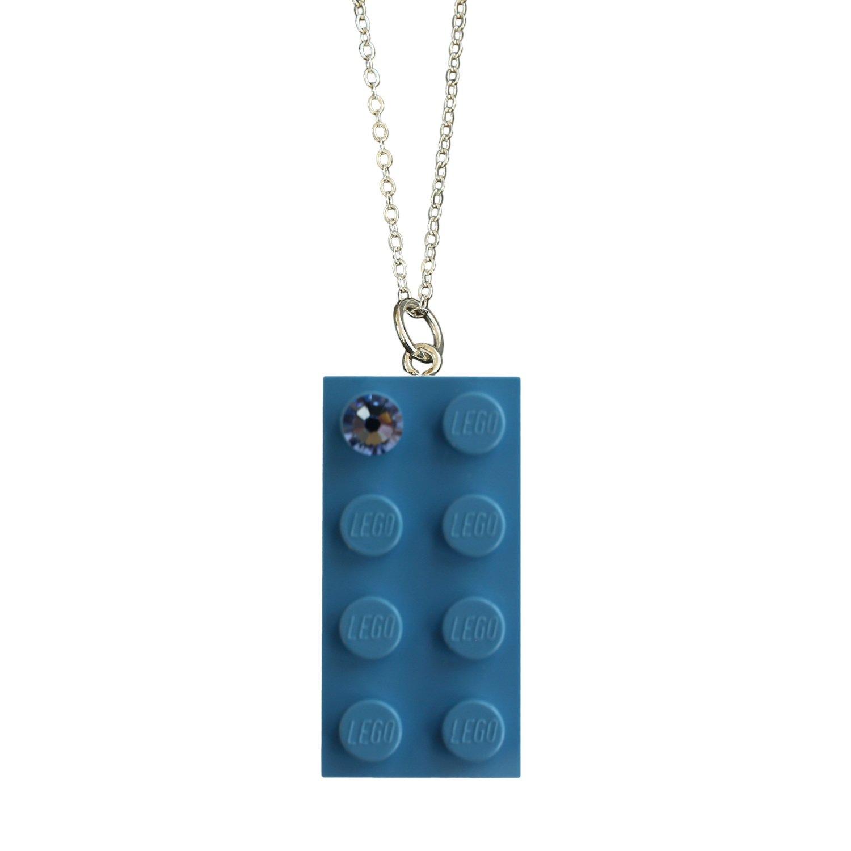 "Light Blue LEGO® brick 2x4 with a Blue SWAROVSKI® crystal on a Silver trace chain (18"" or 24"")"