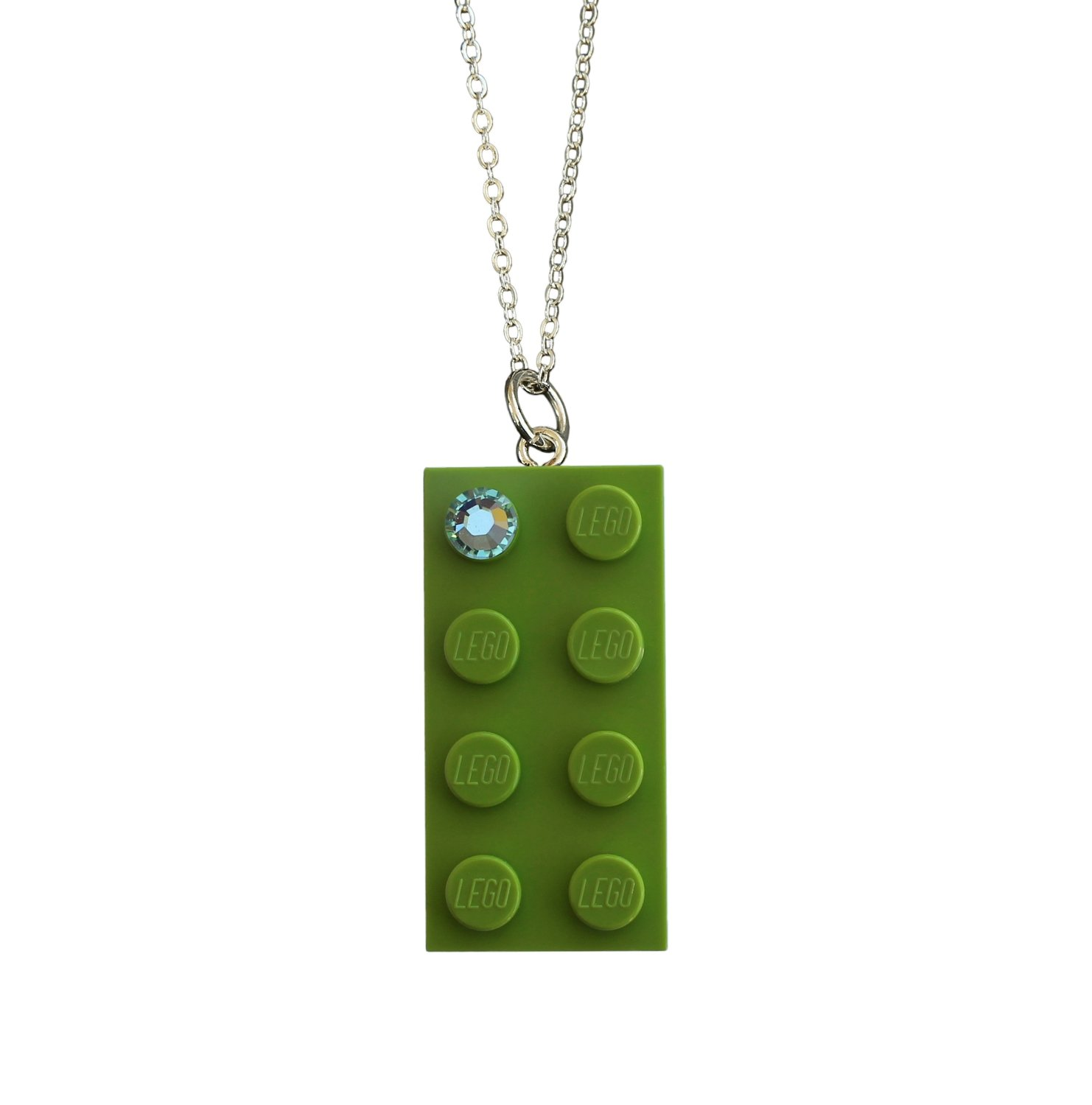 "​Light Green LEGO® brick 2x4 with a Green SWAROVSKI® crystal on a Silver trace chain (18"" or 24"")"