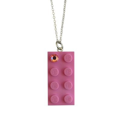 "Light Pink LEGO® brick 2x4 with a Pink SWAROVSKI® crystal on a Silver plated trace chain (18"" or 24"")"