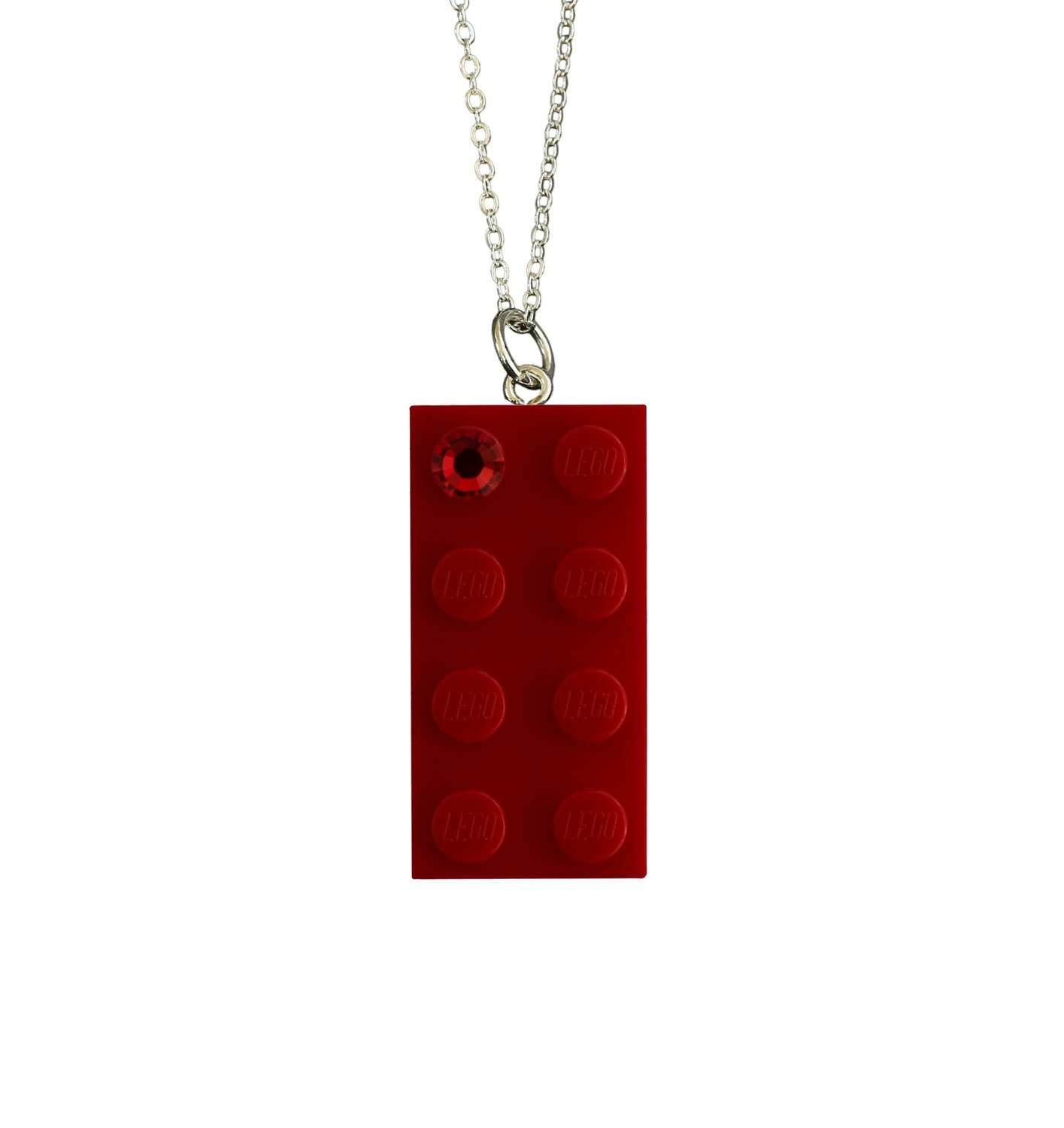 "Red LEGO® brick 2x4 with a Red SWAROVSKI® crystal on a Silver plated trace chain (18"" or 24"")​"