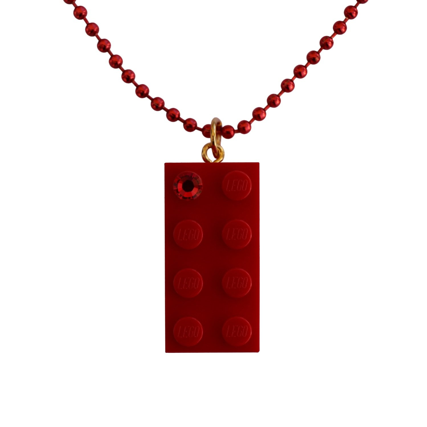 """Red LEGO® brick 2x4 with a Red SWAROVSKI® crystal on a 24"""" Red ballchain"""