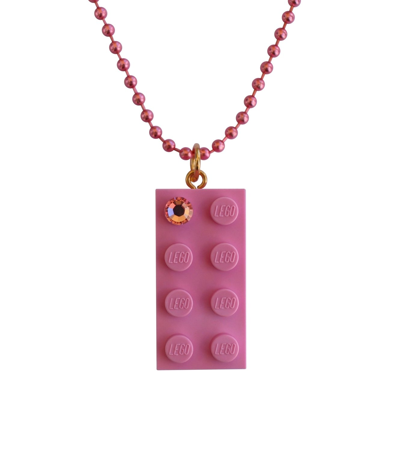"Light Pink LEGO® brick 2x4 with a Pink SWAROVSKI® crystal on a 24"" Pink ballchain​"