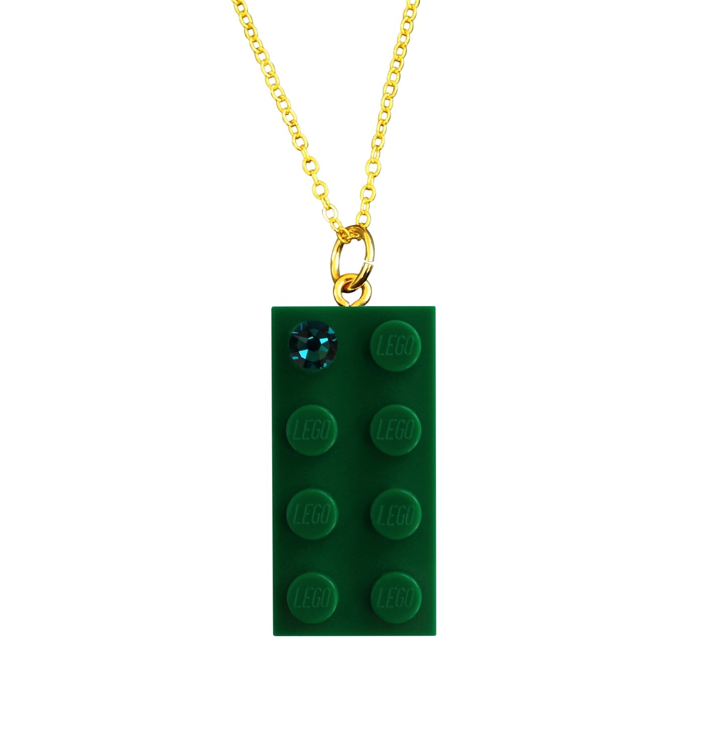 "Dark Green LEGO® brick 2x4 with a Green SWAROVSKI® crystal on a Gold plated trace chain (18"" or 24"")"