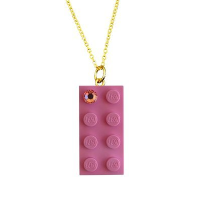 "Light Pink LEGO® brick 2x4 with a Pink SWAROVSKI® crystal on a Gold plated trace chain (18"" or 24"")​"