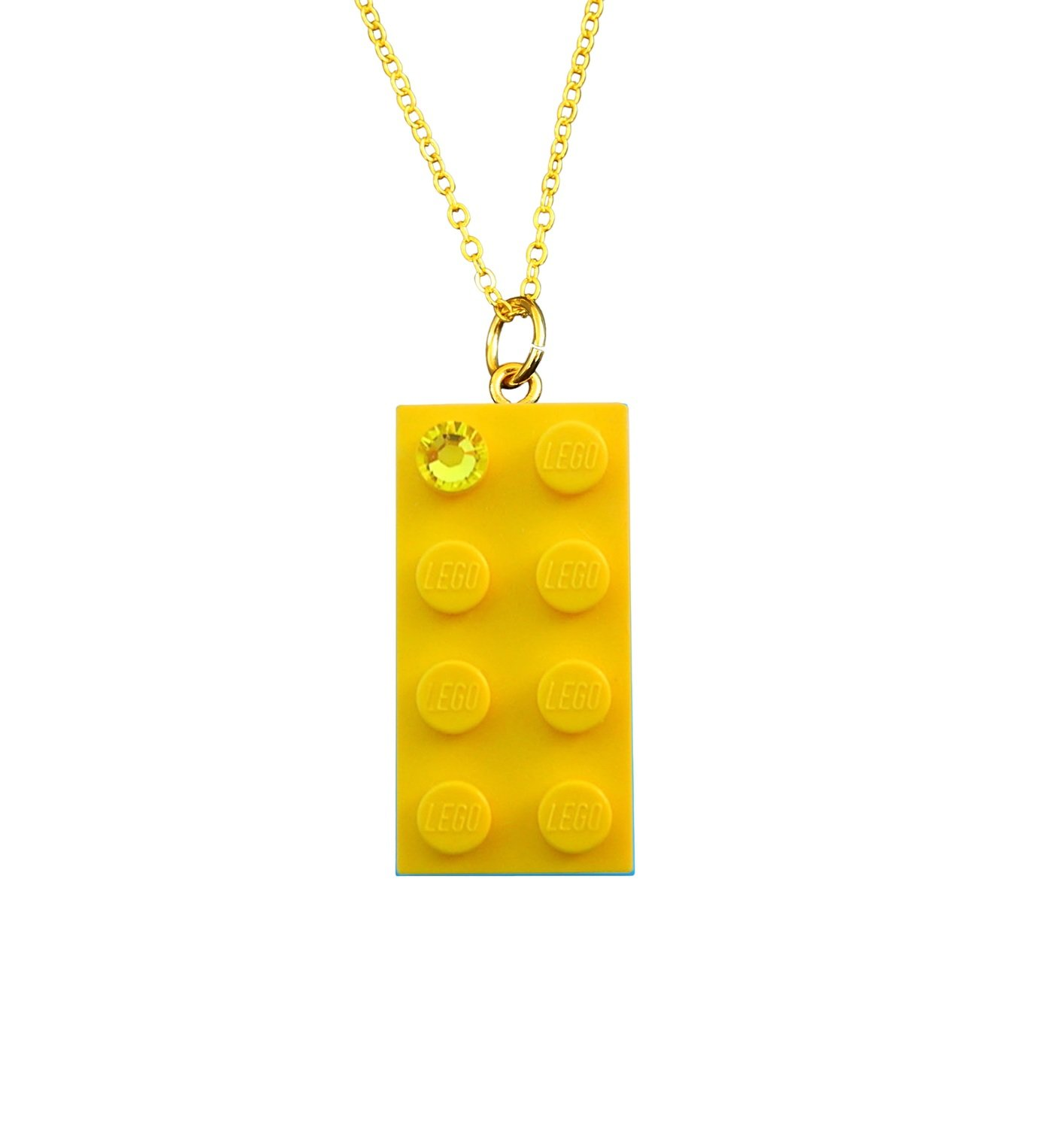"Yellow LEGO® brick 2x4 with a Yellow SWAROVSKI® crystal on a Gold plated trace chain (18"" or 24"")​"