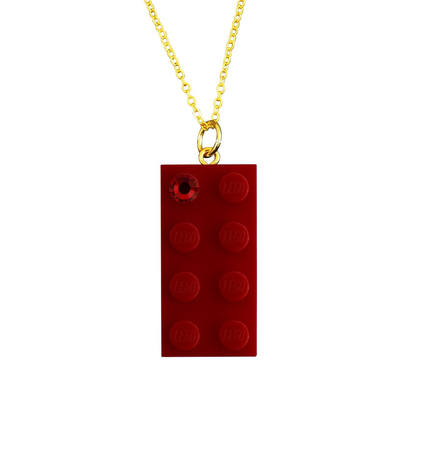 "Red LEGO® brick 2x4 with a Red SWAROVSKI® crystal on a Gold plated trace chain (18"" or 24"")"