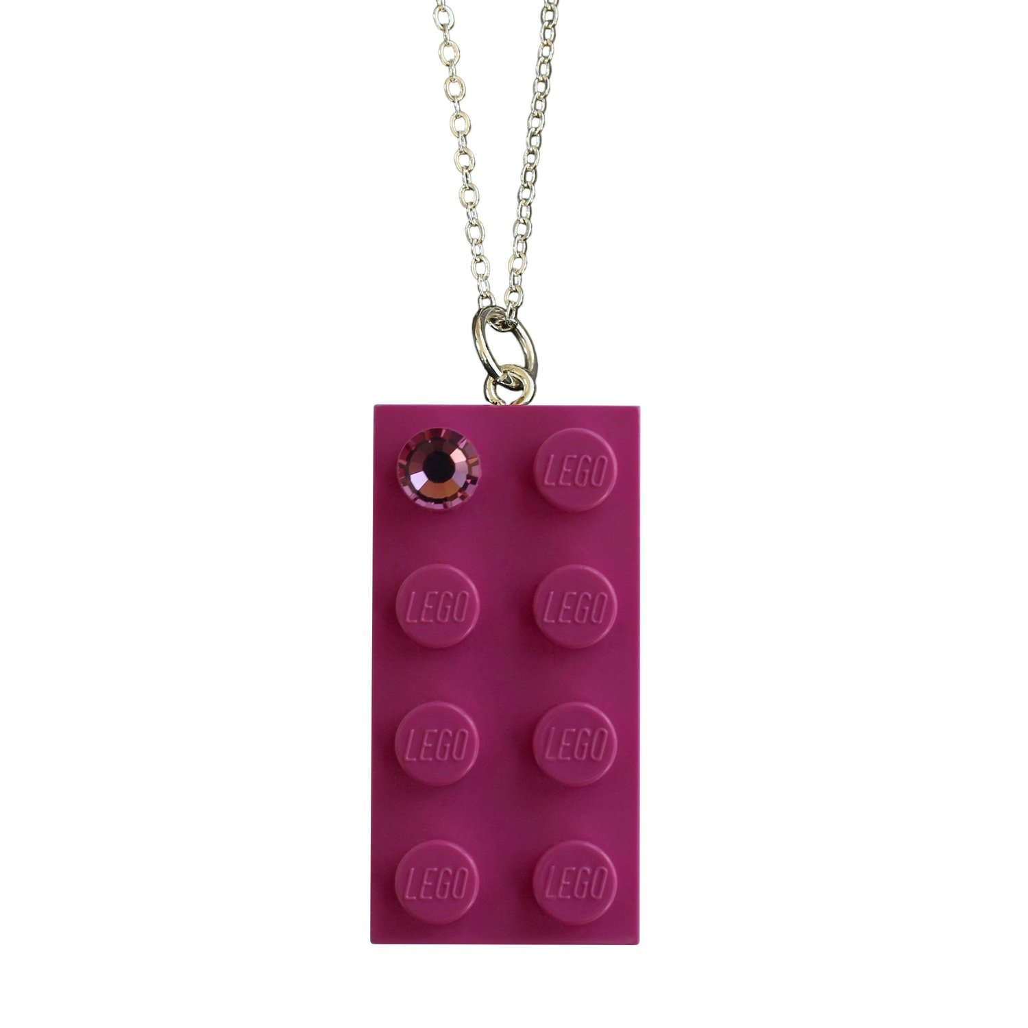 """Dark Pink LEGO® brick 2x4 with a Pink SWAROVSKI® crystal on a Silver plated trace chain (18"""" or 24"""")"""