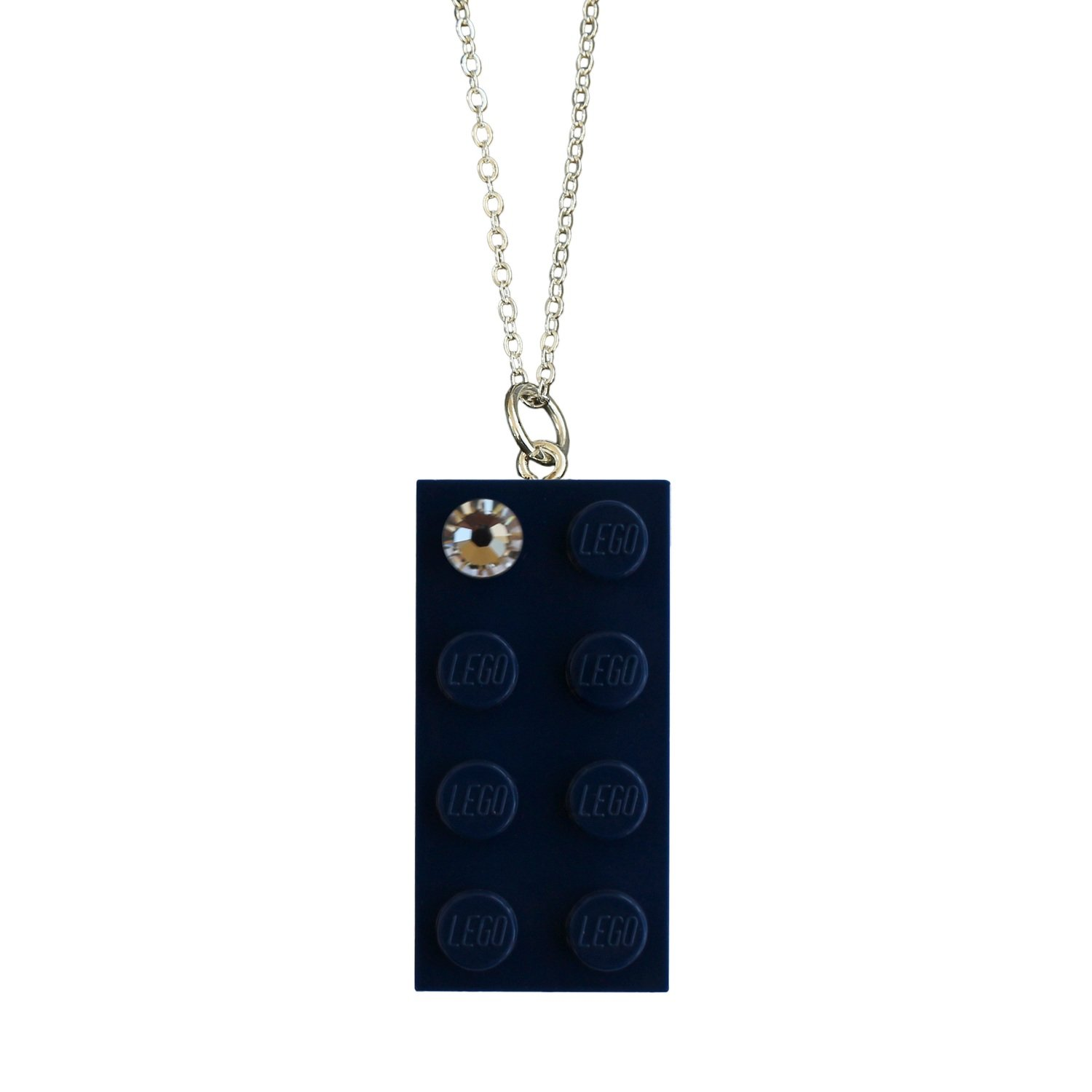 """Navy Blue LEGO® brick 2x4 with a 'Diamond' color SWAROVSKI® crystal on a Silver plated trace chain (18"""" or 24"""")"""