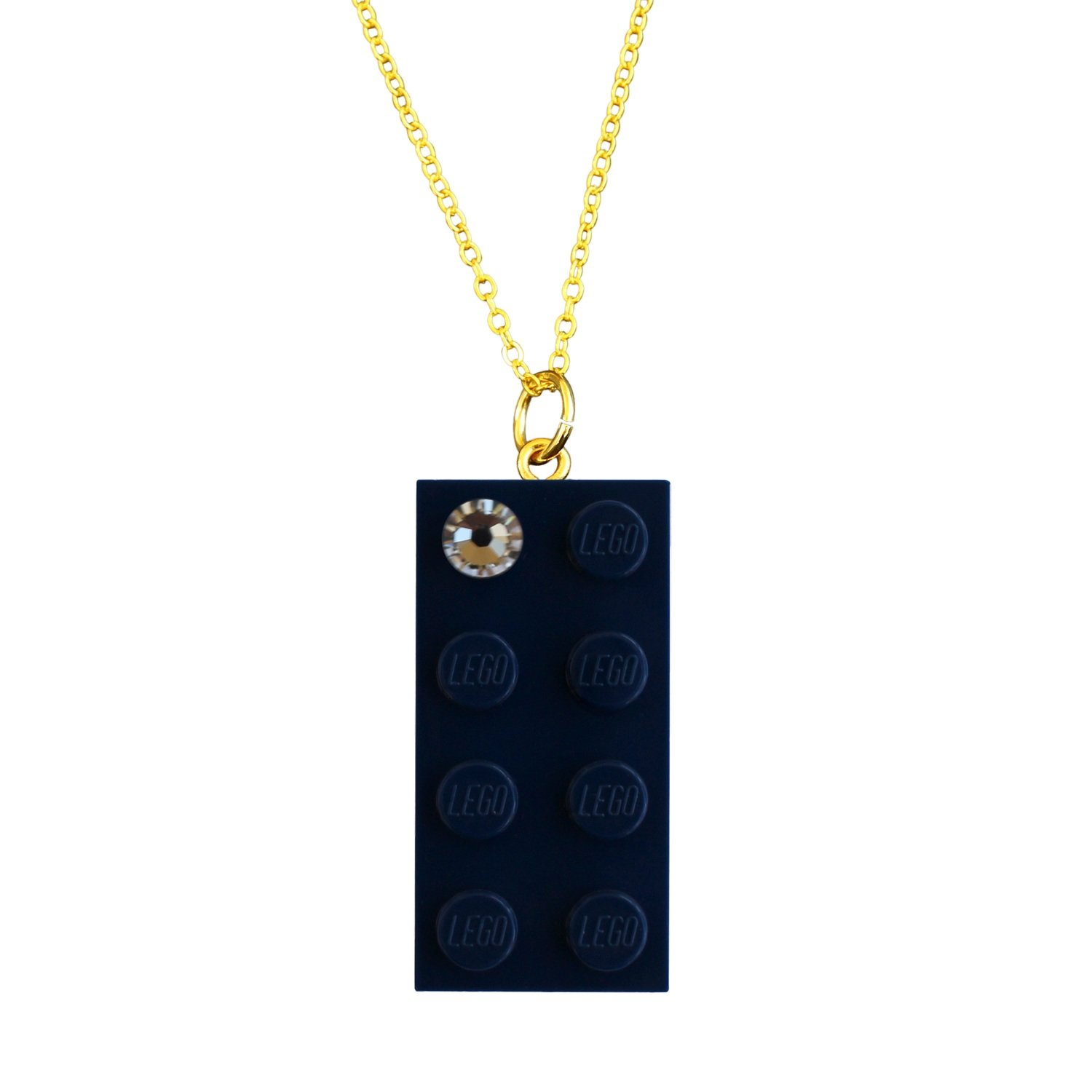 "Navy Blue LEGO® brick 2x4 with a 'Diamond' color SWAROVSKI® crystal on a Gold plated trace chain (18"" or 24"")"