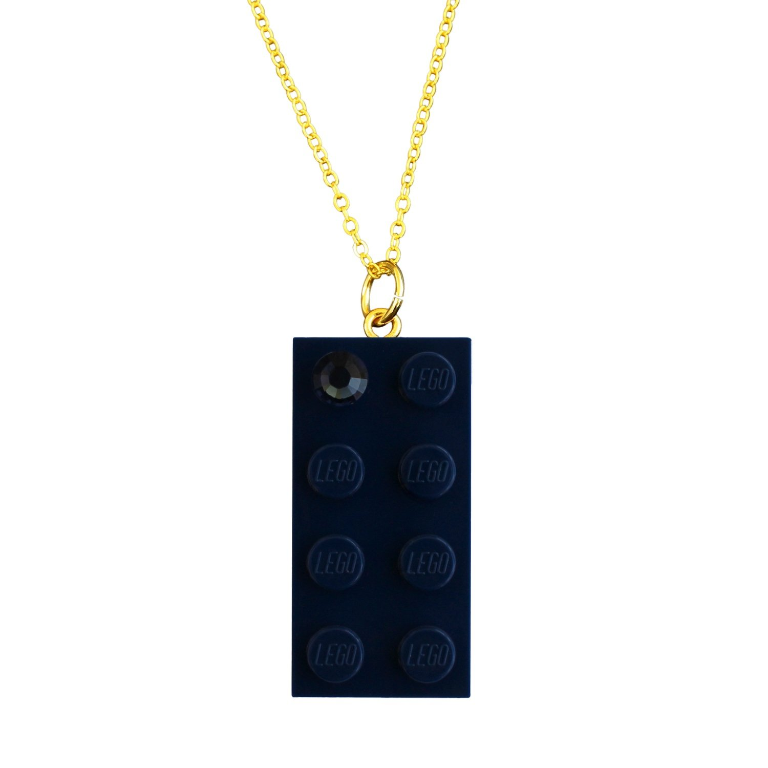 "Navy Blue LEGO® brick 2x4 with a Blue SWAROVSKI® crystal on a Gold plated trace chain (18"" or 24"")"