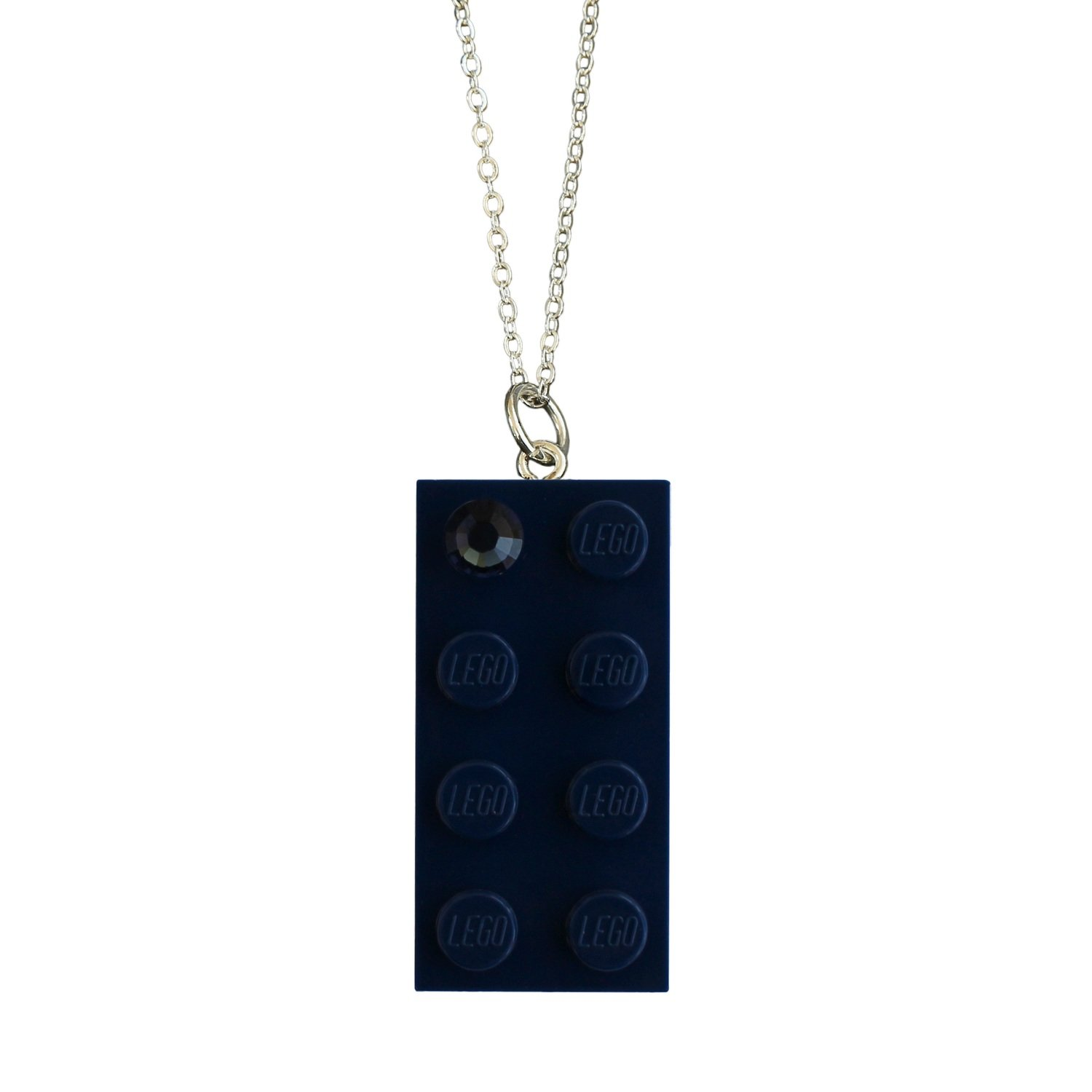 "​Navy Blue LEGO® brick 2x4 with a Blue SWAROVSKI® crystal on a Silver plated trace chain (18"" or 24"")"