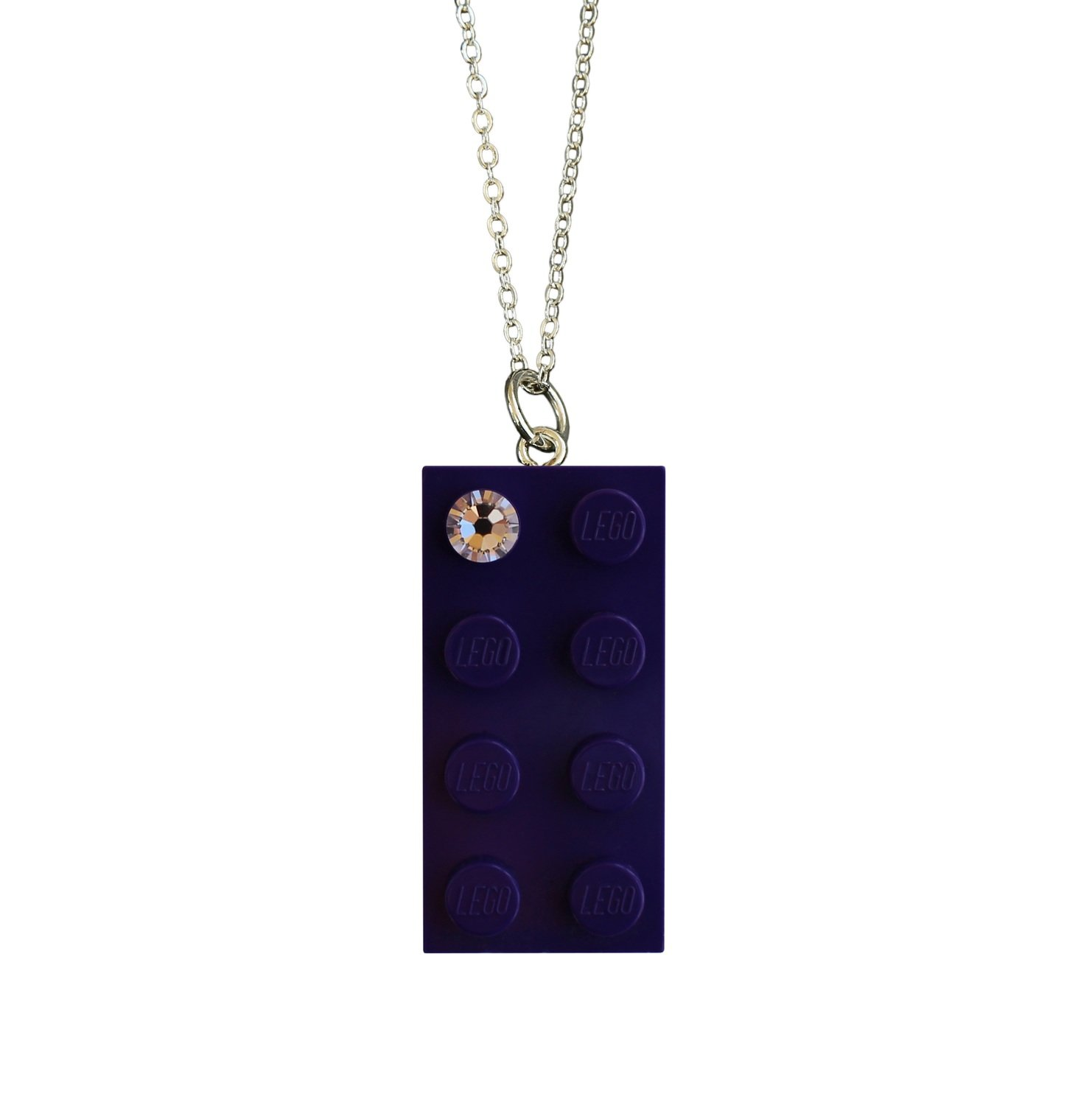 """Purple LEGO® brick 2x4 with a 'Diamond' color SWAROVSKI® crystal on a Silver plated trace chain (18"""" or 24"""")"""