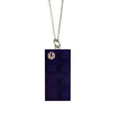 "Purple LEGO® brick 2x4 with a 'Diamond' color SWAROVSKI® crystal on a Silver plated trace chain (18"" or 24"")"