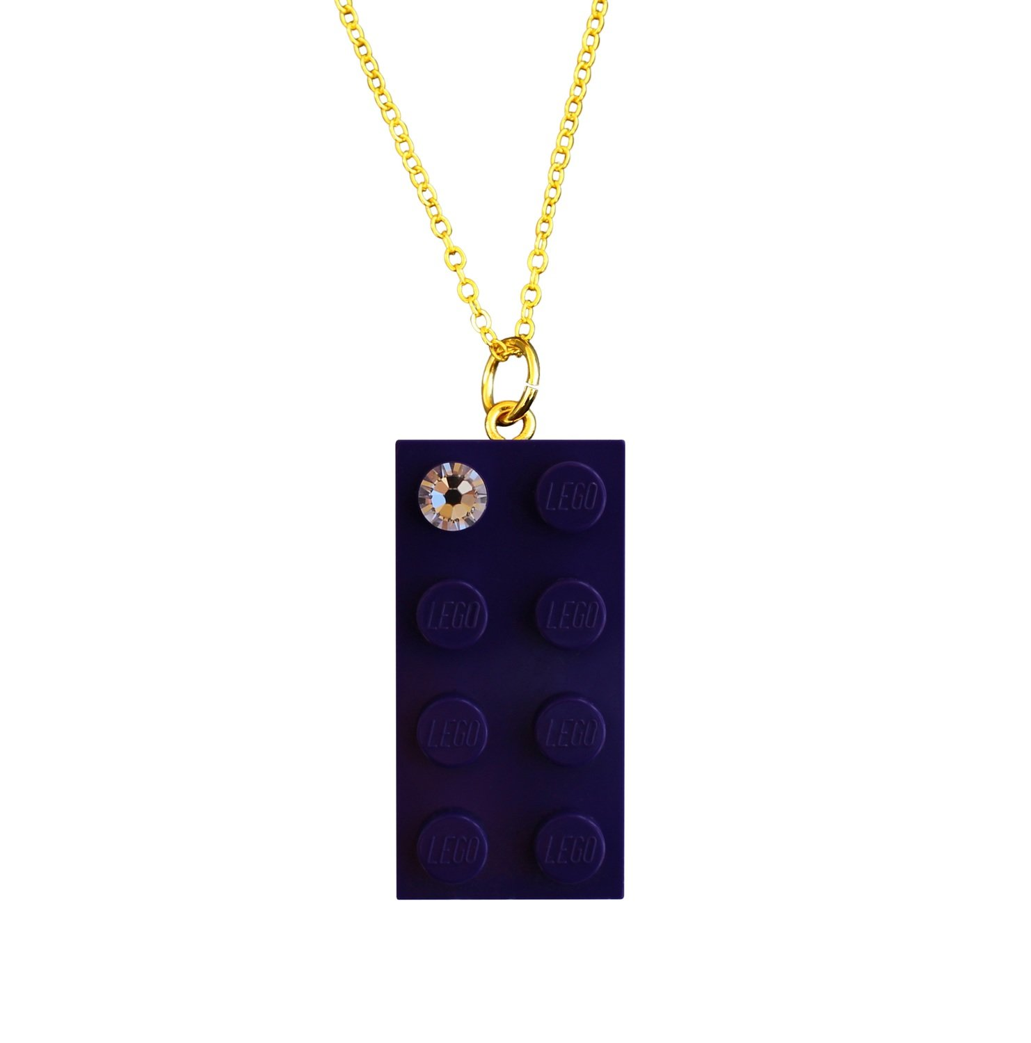 "Purple LEGO® brick 2x4 with a 'Diamond' color SWAROVSKI® crystal on a Gold plated trace chain (18"" or 24"")"