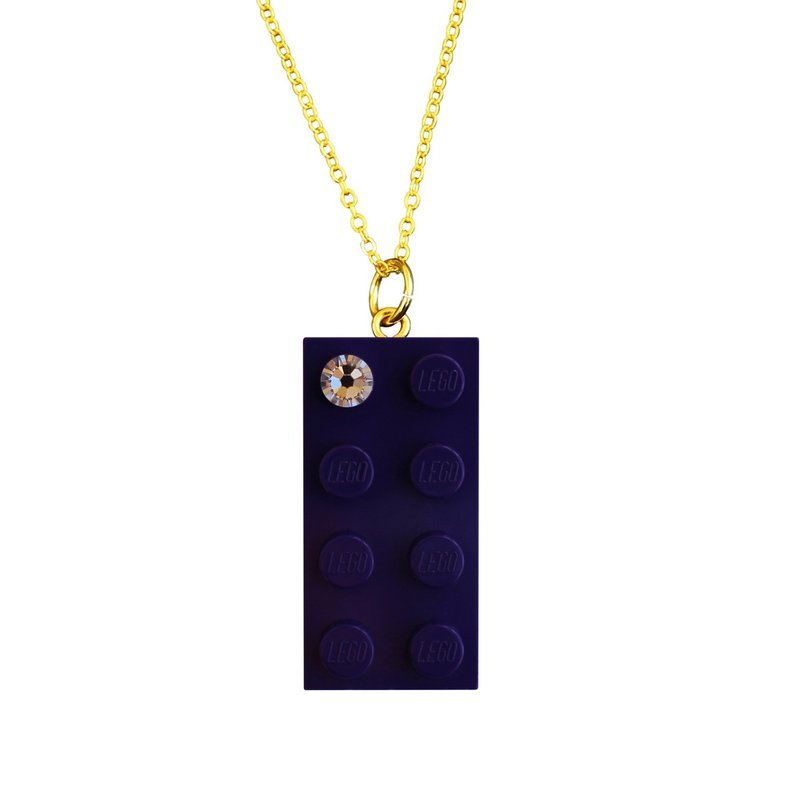 Purple LEGO® brick 2x4 with a 'Diamond' color SWAROVSKI® crystal on a Gold plated trace chain (18