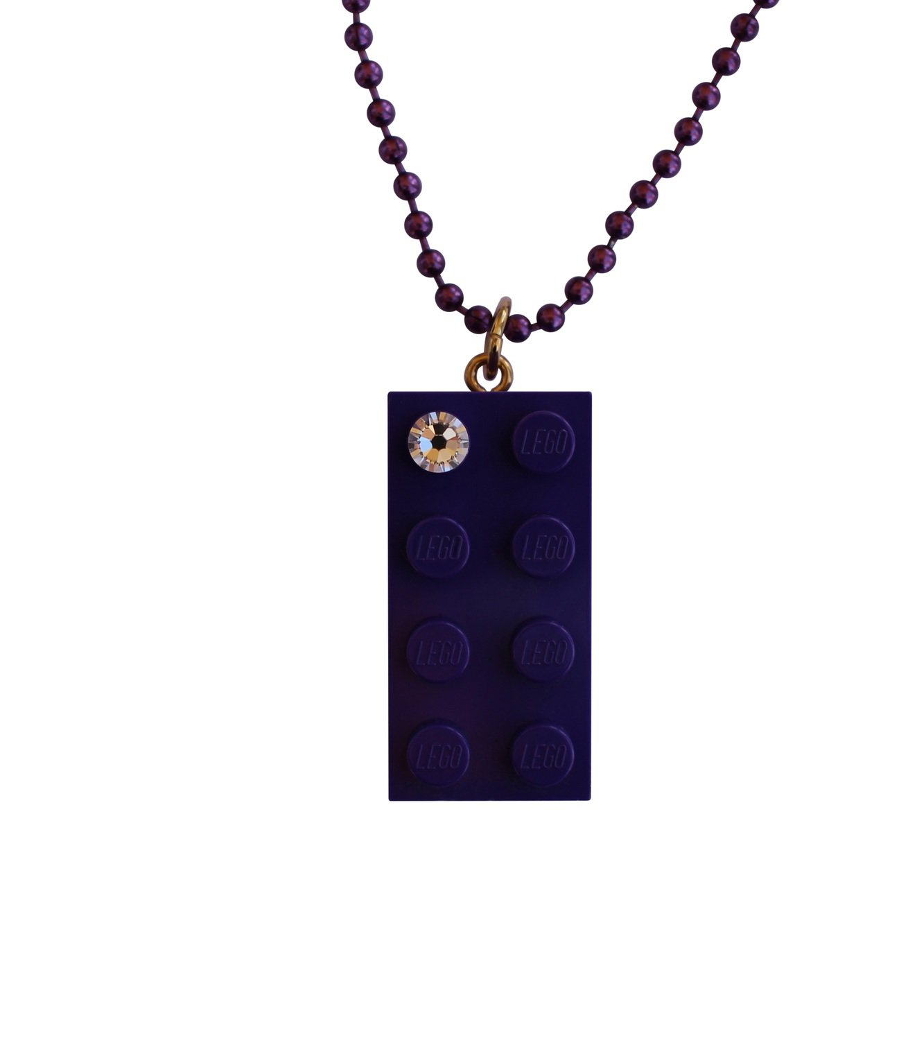 "Purple LEGO® brick 2x4 with a 'Diamond' color SWAROVSKI® crystal on a 24"" Purple ballchain​"