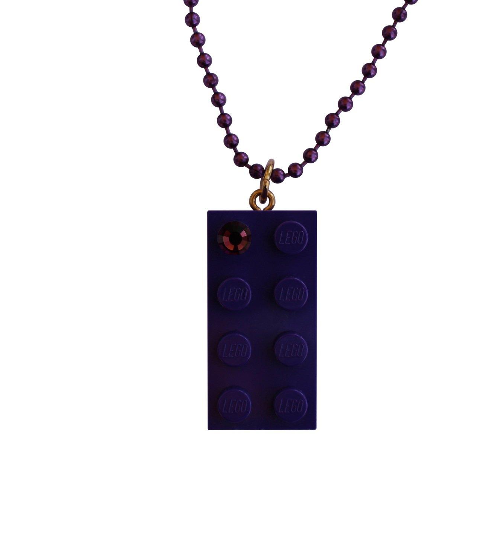 "Purple LEGO® brick 2x4 with a Purple color SWAROVSKI® crystal on a 24"" Purple ballchain"