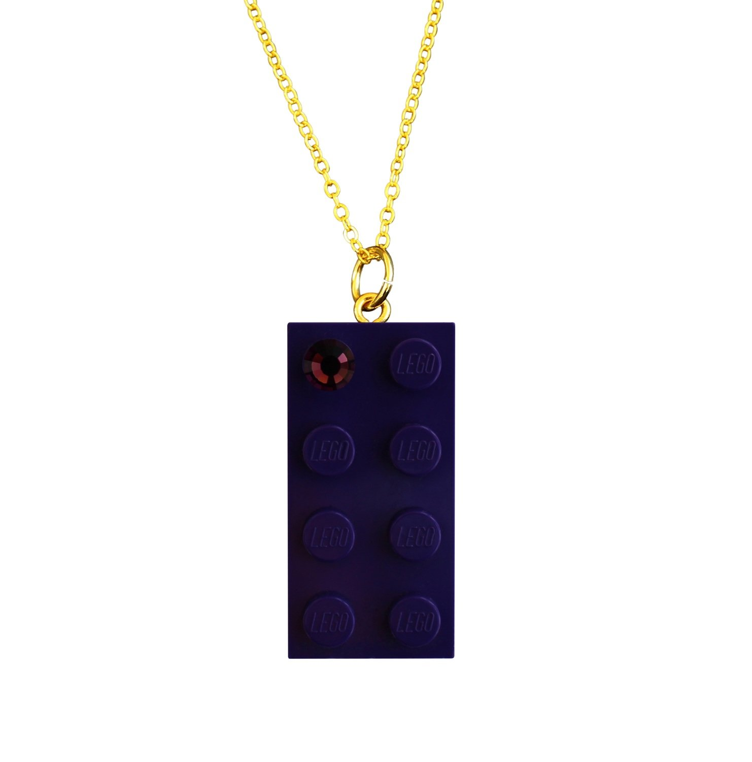 "Purple LEGO® brick 2x4 with a Purple color SWAROVSKI® crystal on a Gold plated trace chain (18"" or 24"")​"