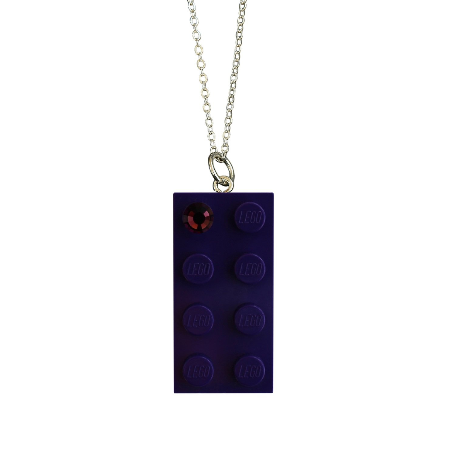 "​Purple LEGO® brick 2x4 with a Purple color SWAROVSKI® crystal on a Silver plated trace chain (18"" or 24"")"