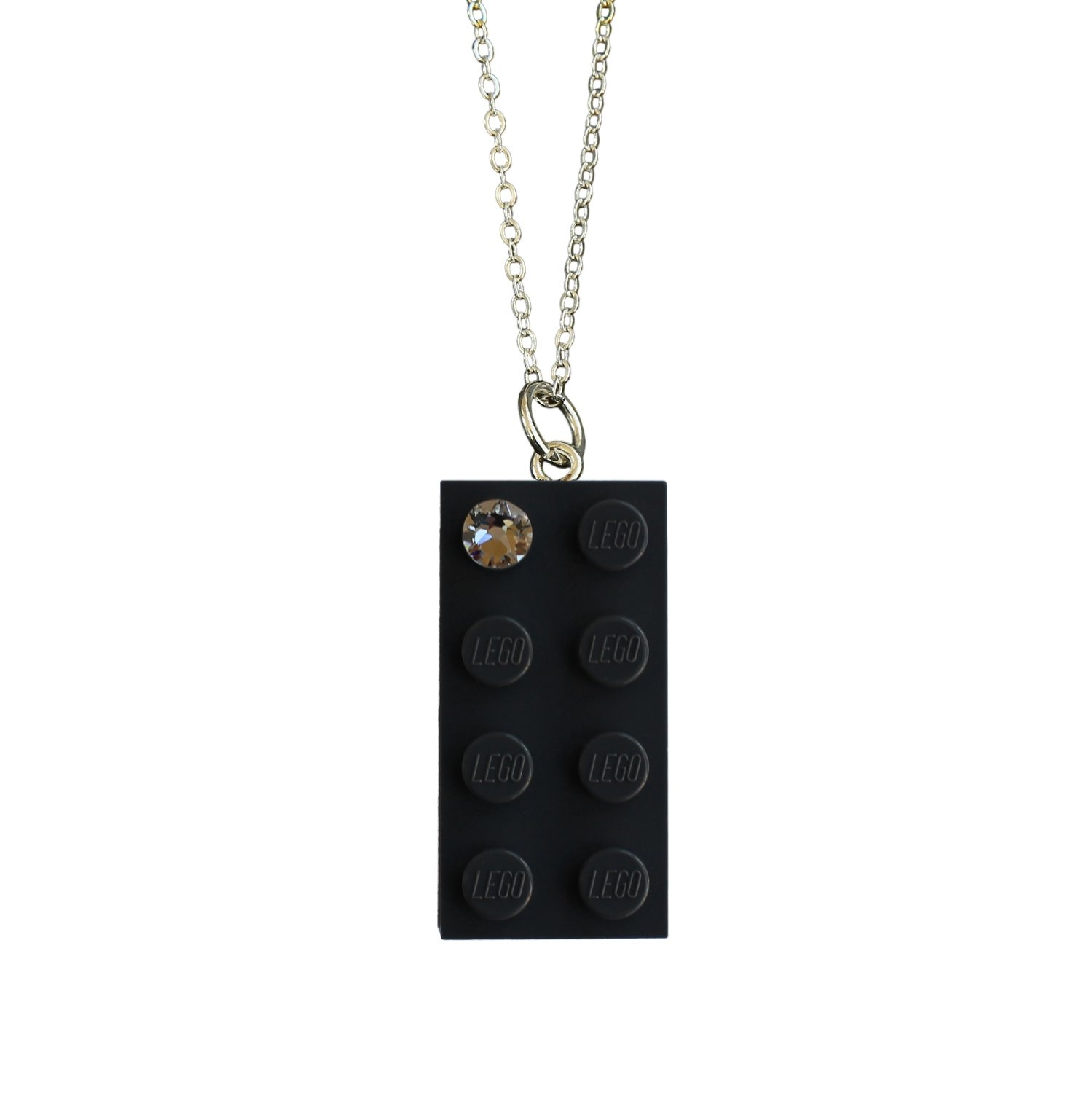 "Gray LEGO® brick 2x4 with a 'Diamond' color SWAROVSKI® crystal on a Silver plated trace chain (18"" or 24"")"
