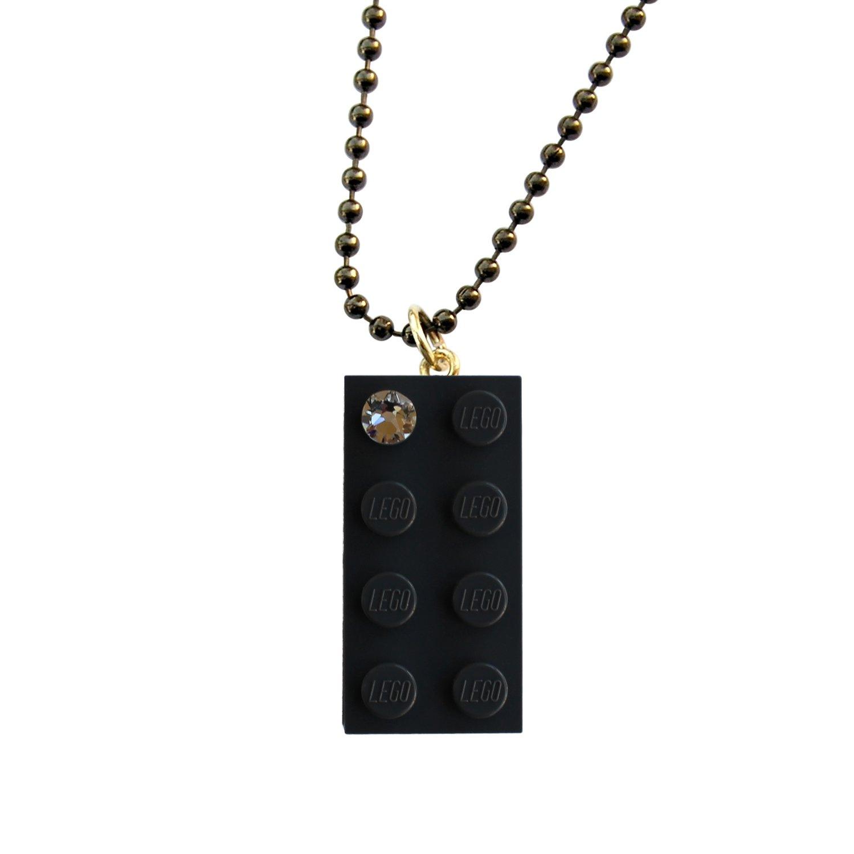 "Gray LEGO® brick 2x4 with a 'Diamond' color SWAROVSKI® crystal on a 24"" Gray ballchain"