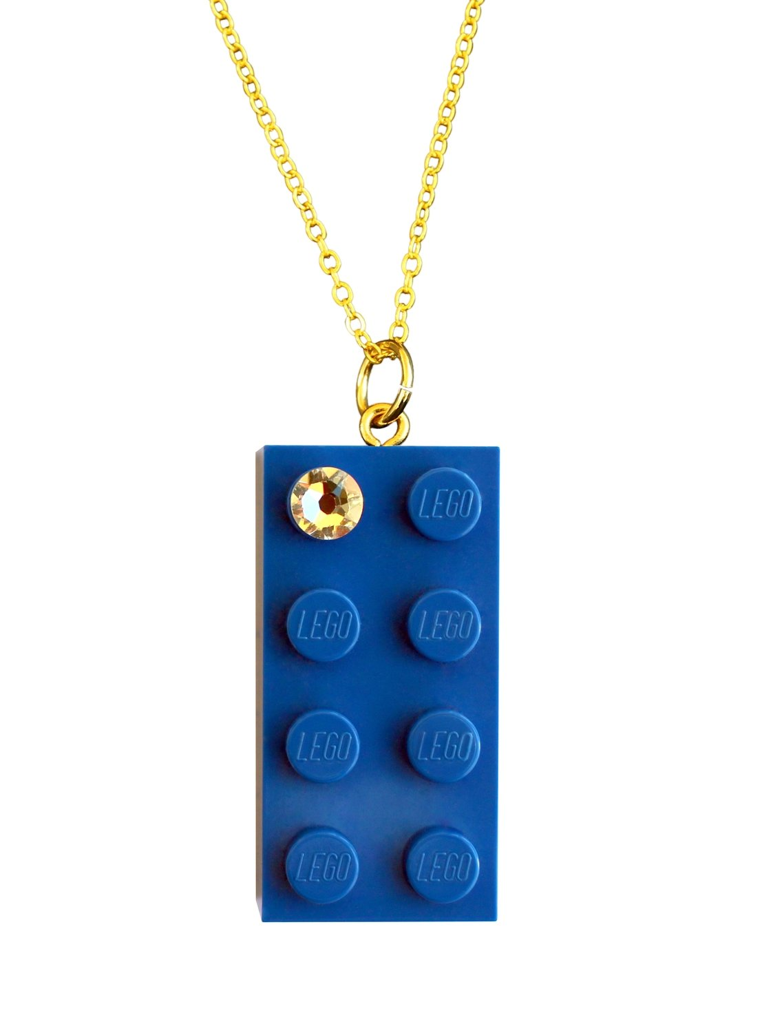 """Dark Blue LEGO® brick 2x4 with a 'Diamond' color  SWAROVSKI® crystal on a Gold plated trace chain (18"""" or 24"""")"""