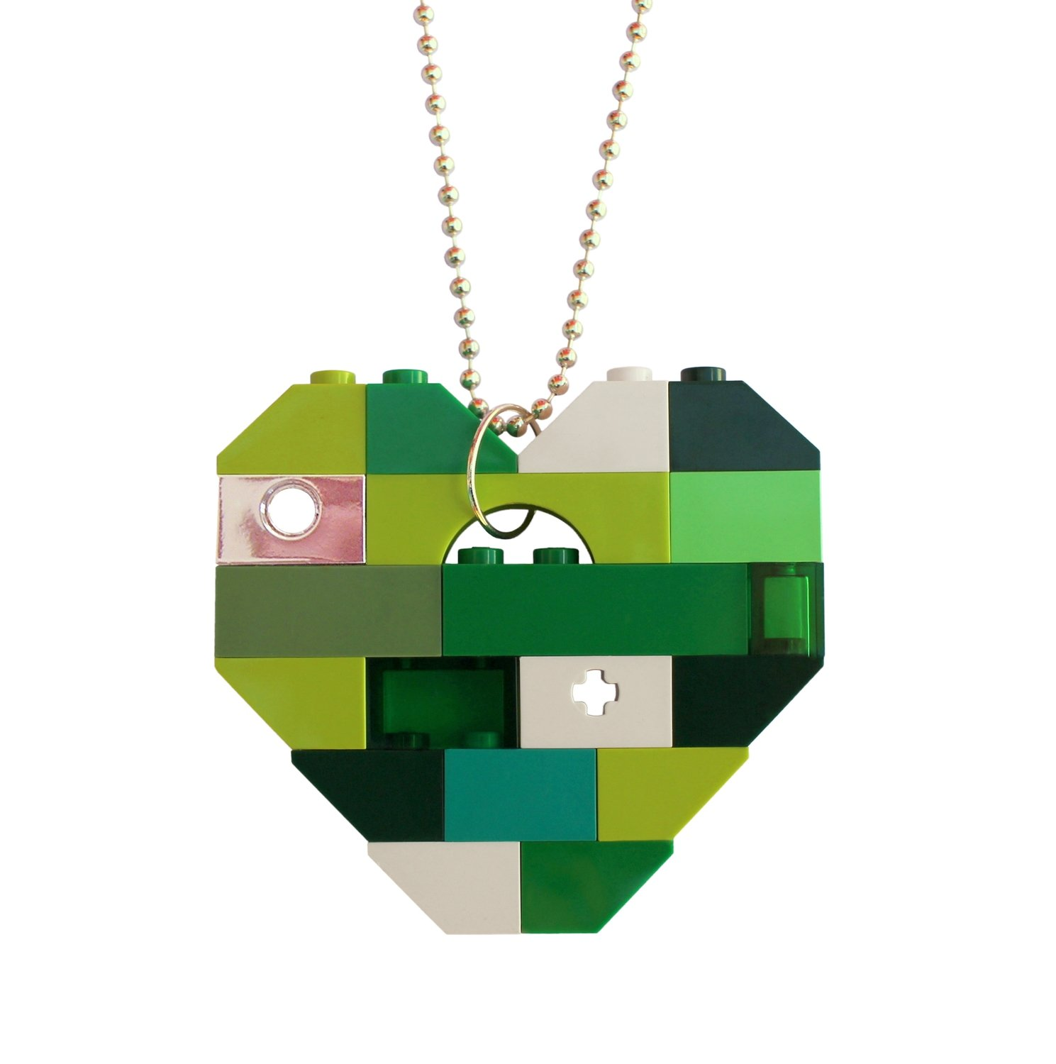 "​Collectible heart pendant (Single thickness) Model 3 - made from LEGO® bricks on a 24"" Silver plated ballchain - LUCK - SAINT PATRICK'S DAY"