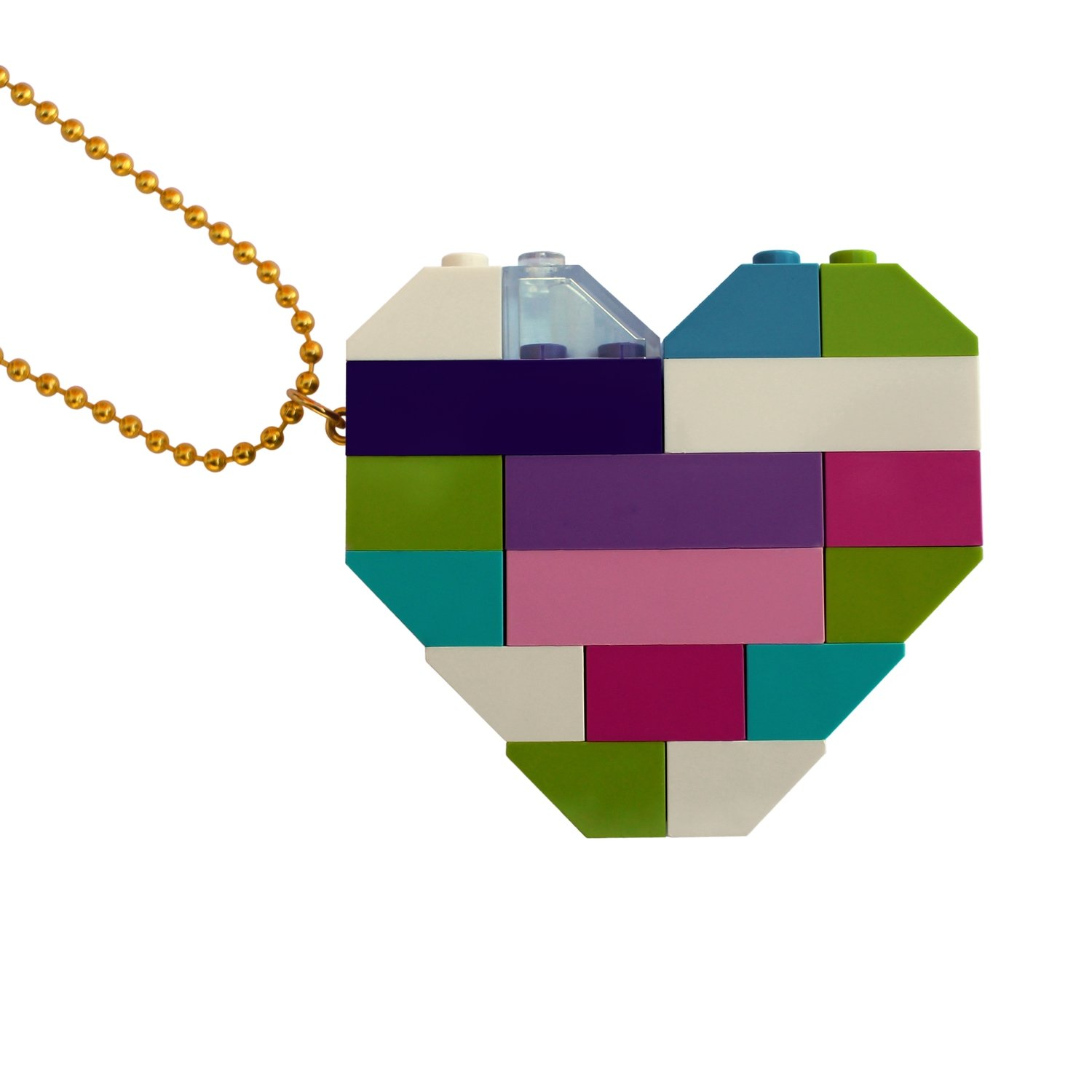 "​​Collectible heart pendant (Double thickness) Model 4 - made from LEGO® bricks on a 24"" Gold plated ballchain"