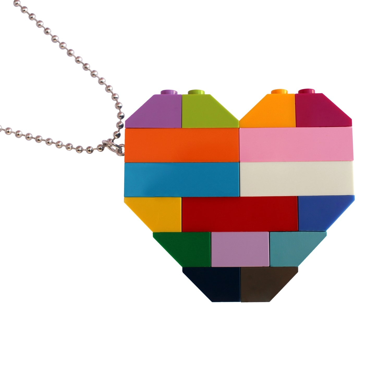 "​​Collectible heart pendant (Double thickness) Model 5 - made from LEGO® bricks on a 24"" Silver plated ballchain - COLORFUL"