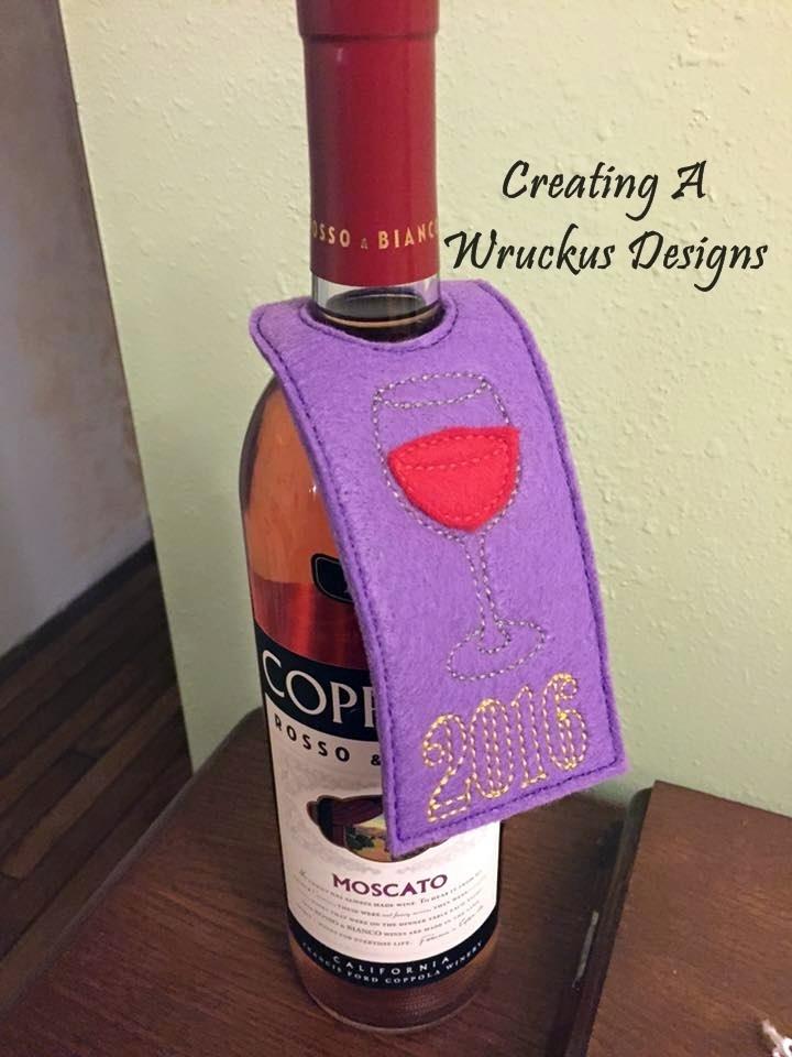 Wine Glass 2016 Wine Bottle Tag