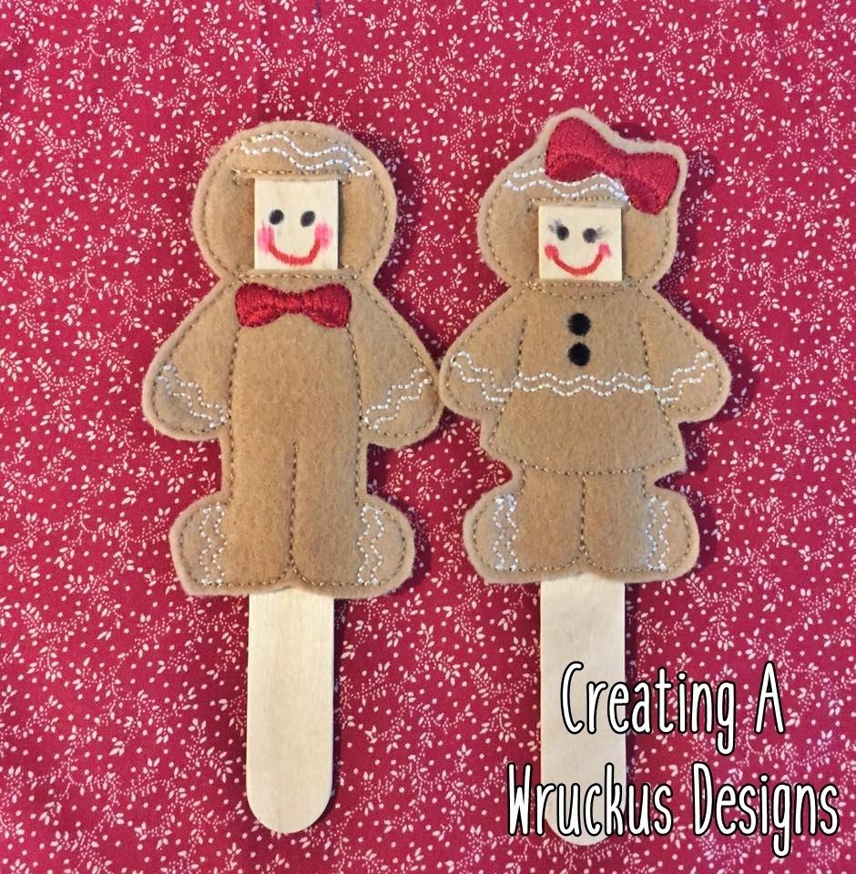 "Gingerbread ""Make A Face"" Stick Puppets."