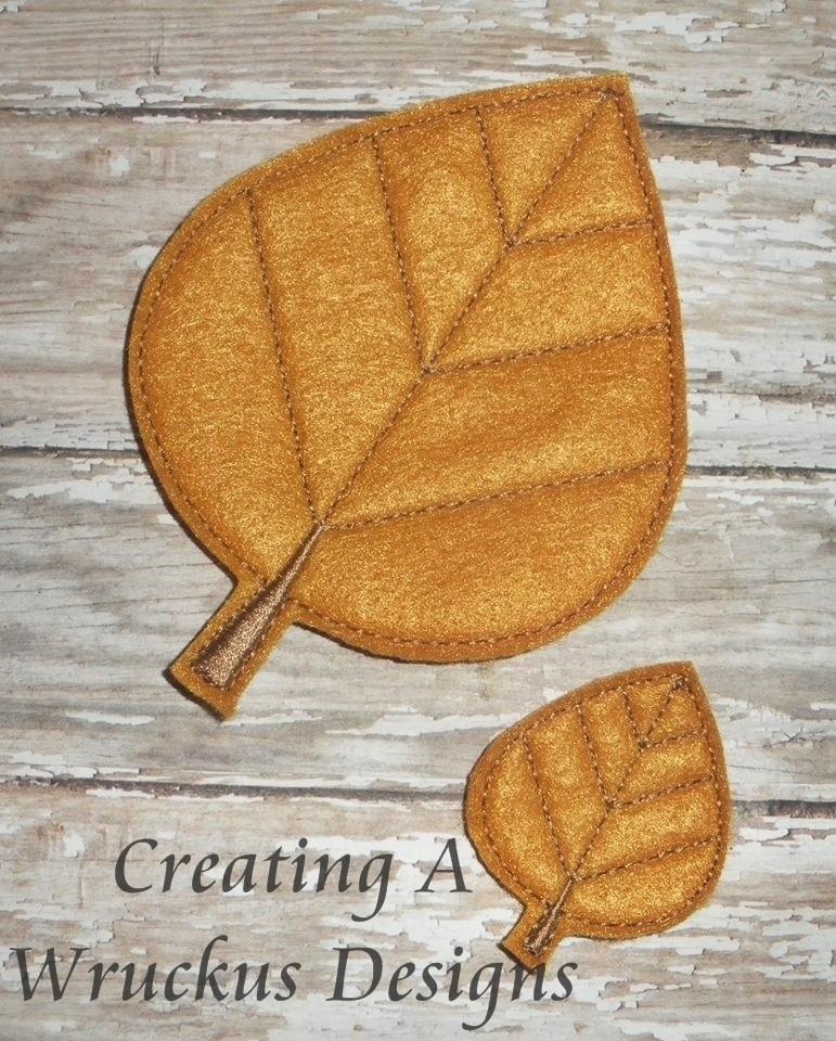 Aspen Leaf Feltie - 4x4 Oversized Included