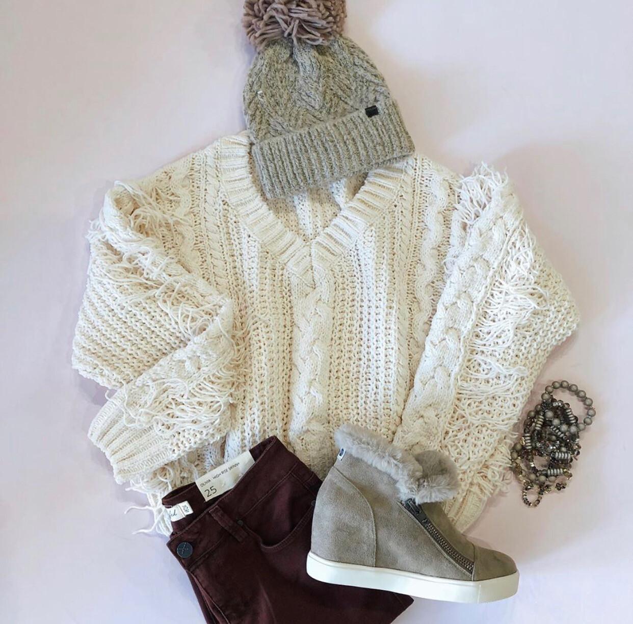 White Fringe Sweater