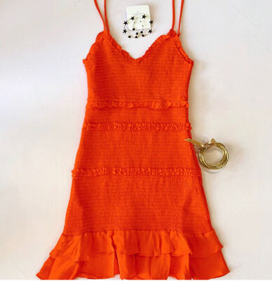 Tangerine Pleated Dress
