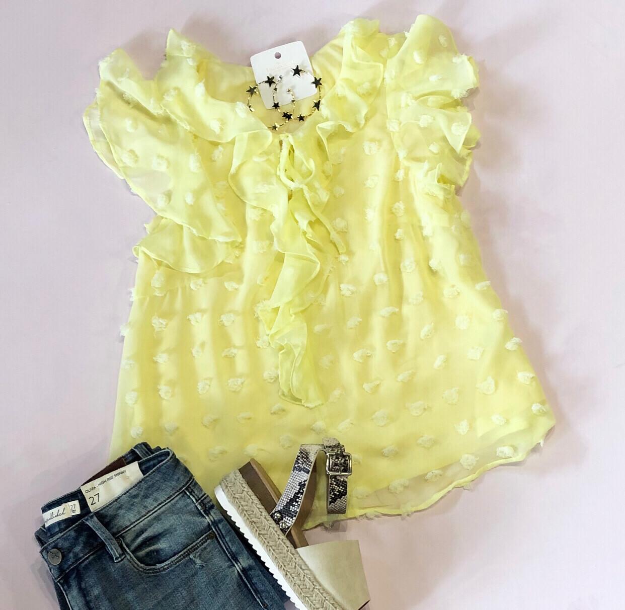 Yellow Flutter Top