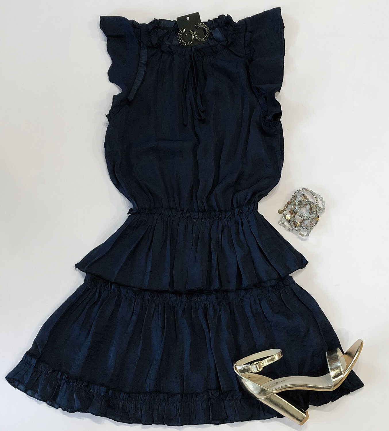 Navy Peasant Dress