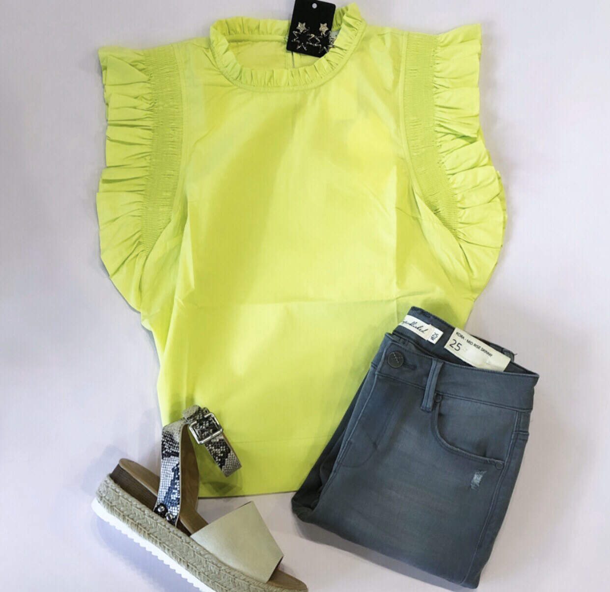Lime Flutter Top