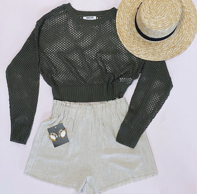 Olive Fishnet Sweater
