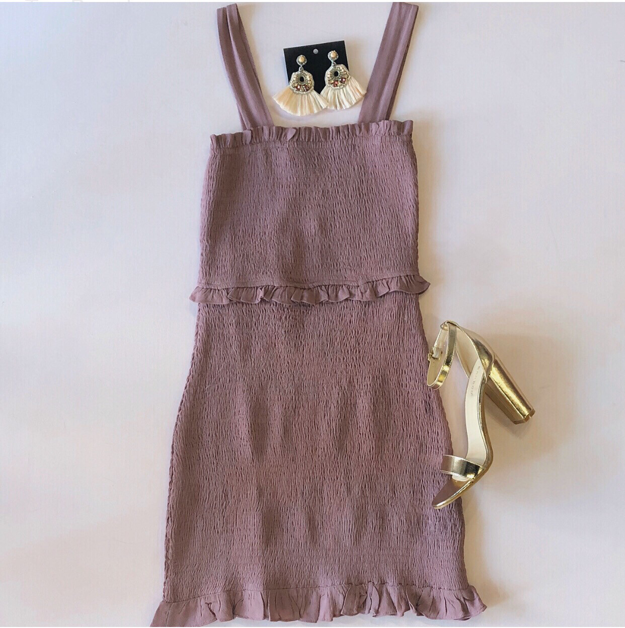 Buddy Love Mauve Pleated Dress